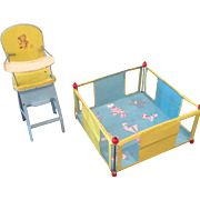 Chein high chair and playpen