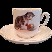 Vintage child's cat cup & saucer,