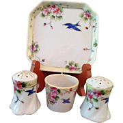 Vintage handpainted Bluebird salt set
