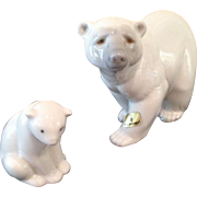 Lladro mom & baby Polar Bears