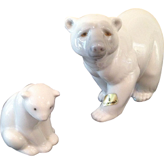 Lladro mom & baby Polar Bears