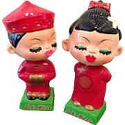 Vintage Chinese LETS KISS, bobble dolls