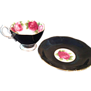 Vintage Royal Albert black with pink roses Cup & saucer