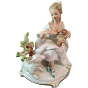 Lovely German lady and lamb figure