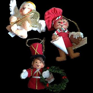 3 Annalee Christmas ornaments dolls