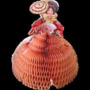 Vintage Valentine lady w honeycomb skirt