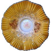 Important , Fenton handpainted silver crest Bowl with Cupids