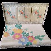 Vintage Irish Handpainted Damask tablecloth and napkins, MIB