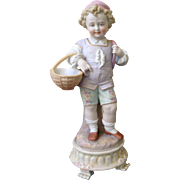 Early Meissen quality Boy with two baskets figurine