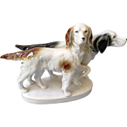Impressive German hunting dogs figurine