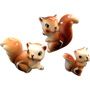 Vintage miniature bone china Brown Squirrel family
