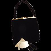 1950's Vintage INGBER Black velvet handbag, original mirror, satin coin purse Medium