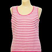 St John Sleeveless Striped Stretch-knit Sweater sz. S