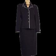 Vtg St John M. Gray Blue Jacket Blazer sz. 8 / skirt sz 12