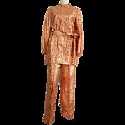1960's Handmade Gold / Orange Lame pants set metallic brocade fabric formal evening wear
