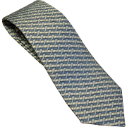 "Men's vintage Hermes necktie Basket weave 5079PA 100% Soie 3.5""x60"""