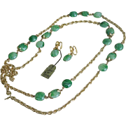 "1950's Vintage Crown Jewels by Trifari 55"" Necklace set Green lucite w/Original Tags"