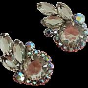 Dramatic Juliana Smokey gray earrings Aurora borealis accent rhinestones