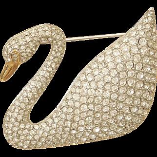 Vintage Swarovski Pave' Swan Rhodium Brooch 100th year Anniversary