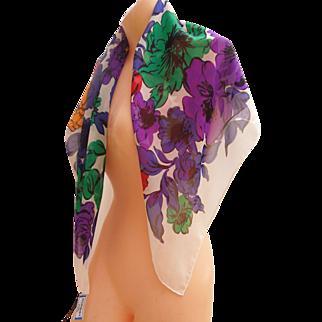 "Vintage Yves Saint Laurent silk logo YSL scarf multi-color Floral 35"" x 34"" square"