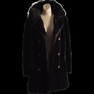 Vintage 70's BORGAZIA Faux fur Coat Dark Brown S-M