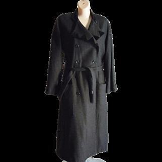 Vintage 80's Valentino Dress Coat Black w/ velvet trim Belted Wool blend