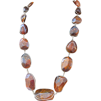 "Vintage Natural Amber necklace Genuine Graduated Nuggets 27"" length"