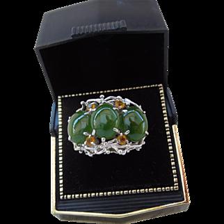Vintage 14k white gold Jade Ring sz. 5.5 Cabochons Yellow Australian Crystals