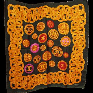 Vintage CHANEL scarf 33.5 x 35.5 Large Square Multi-color Lion 4-leaf clover Motif