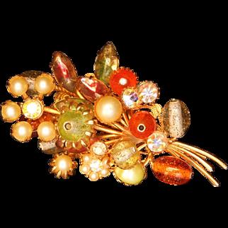 Vintage Floral Bouquet brooch Glitter flake Lucite Multi-color Layers