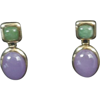 14k Yellow Gold Earrings Amethyst & Emerald Cabochon stones Pierced Post Dangle 585 stamp