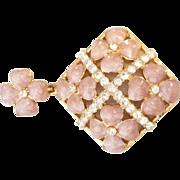 Nolan Miller pink enameled flower rhinestone pendant