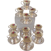 Set Of 10 Demi Cups & Saucers Sterling Silver Lenox Inserts Wallace Rose Floral