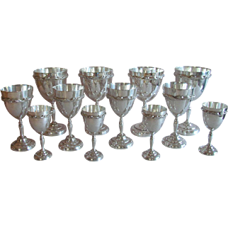 12 Sterling Silver Goblets Kimberley Mexico 64 T Oz