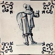 17th Century Antique Delft Tile