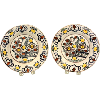 A Pair of 18th Century Delft Plates