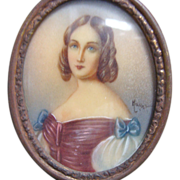 Miniature Hand Painted Portrait From Italy - Red Tag Sale Item