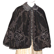 Beautiful Victorian Velvet Cape with Jet Beads