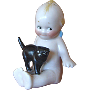 Porcelain Kewpie Shaker with Black Cat
