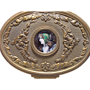 Beautiful Jewelry Casket with Enamel Over Copper Portrait