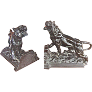 Beautiful Pair of Black Tiger Bookends