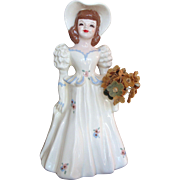 Florence Porcelain Figurine of Woman with Basket of Flowers