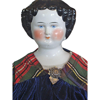 "24"" German China Head Doll with Cloth Body"