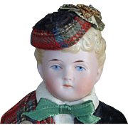 German Bisque Shoulder Head Doll in Scottish Costume