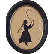 Sihouette of Young Girl Jumping Rope