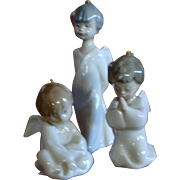 Lladro Three Piece Mini Angelitos Ornament Set