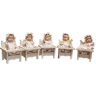Set of Madame Alexander Quintuplets with Wood Low-Chairs