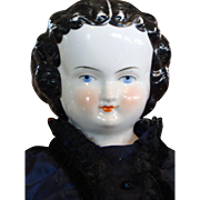 1860's German China Head Doll with Taffeta Gown