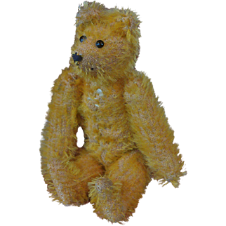 Miniature Yellow Gold Mohair Bear with Pointy Nose