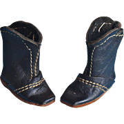Pair of Small Black Kid Leather Doll Boots